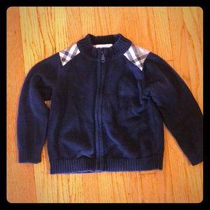 Burberry kids cotton zip sweater  shoulder patches